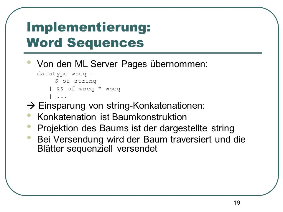 Implementierung: Word Sequences