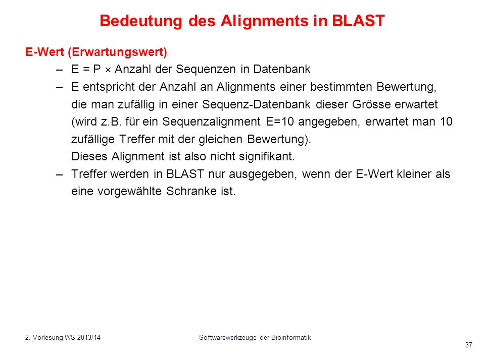 Bedeutung des Alignments in BLAST