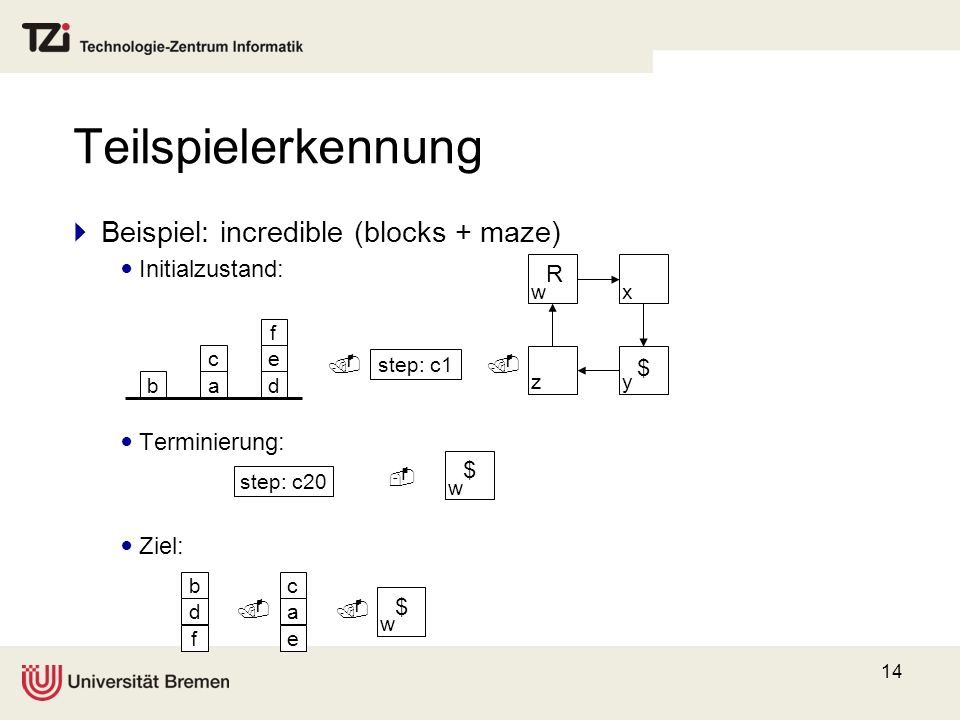 Teilspielerkennung Beispiel: incredible (blocks + maze)