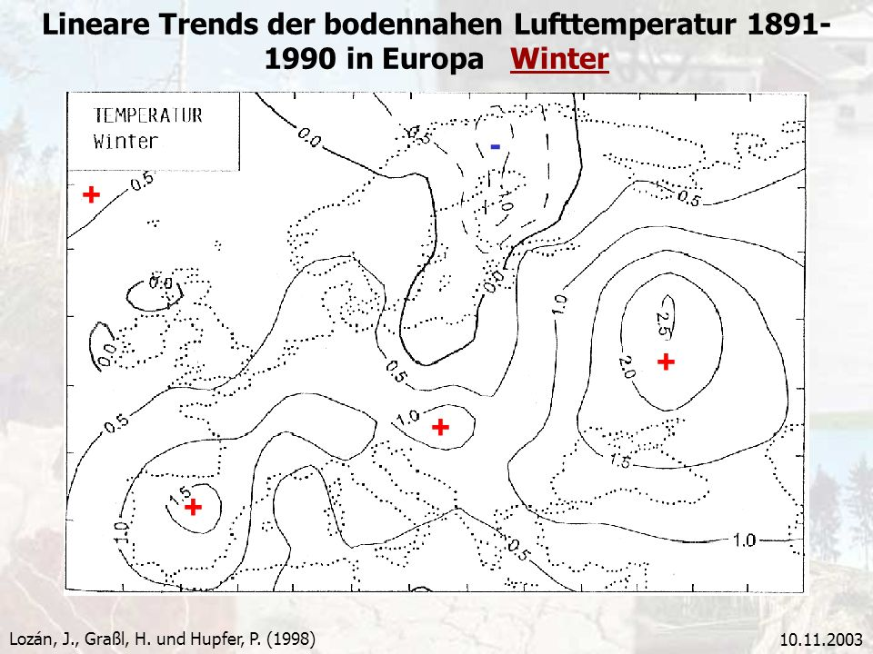Lineare Trends der bodennahen Lufttemperatur in Europa Winter