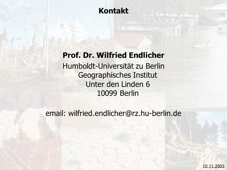 Prof. Dr. Wilfried Endlicher