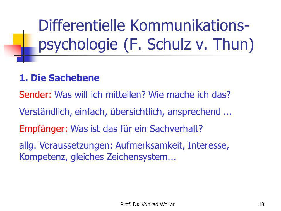 Differentielle Kommunikations-psychologie (F. Schulz v. Thun)