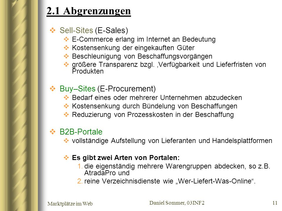 2.1 Abgrenzungen Sell-Sites (E-Sales) Buy–Sites (E-Procurement)