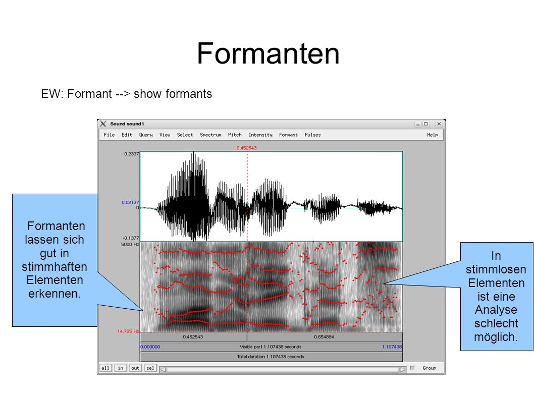 Formanten EW: Formant --> show formants