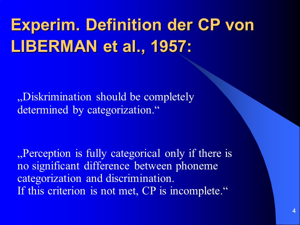 Experim. Definition der CP von LIBERMAN et al., 1957: