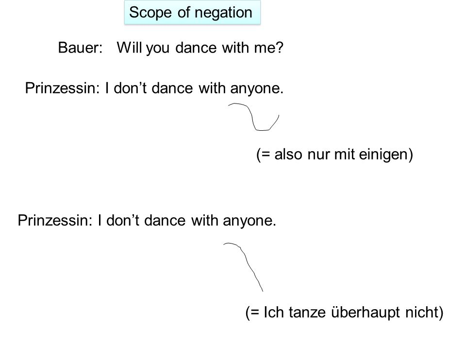 Scope of negation Bauer: Will you dance with me Prinzessin: I don't dance with anyone. (= also nur mit einigen)