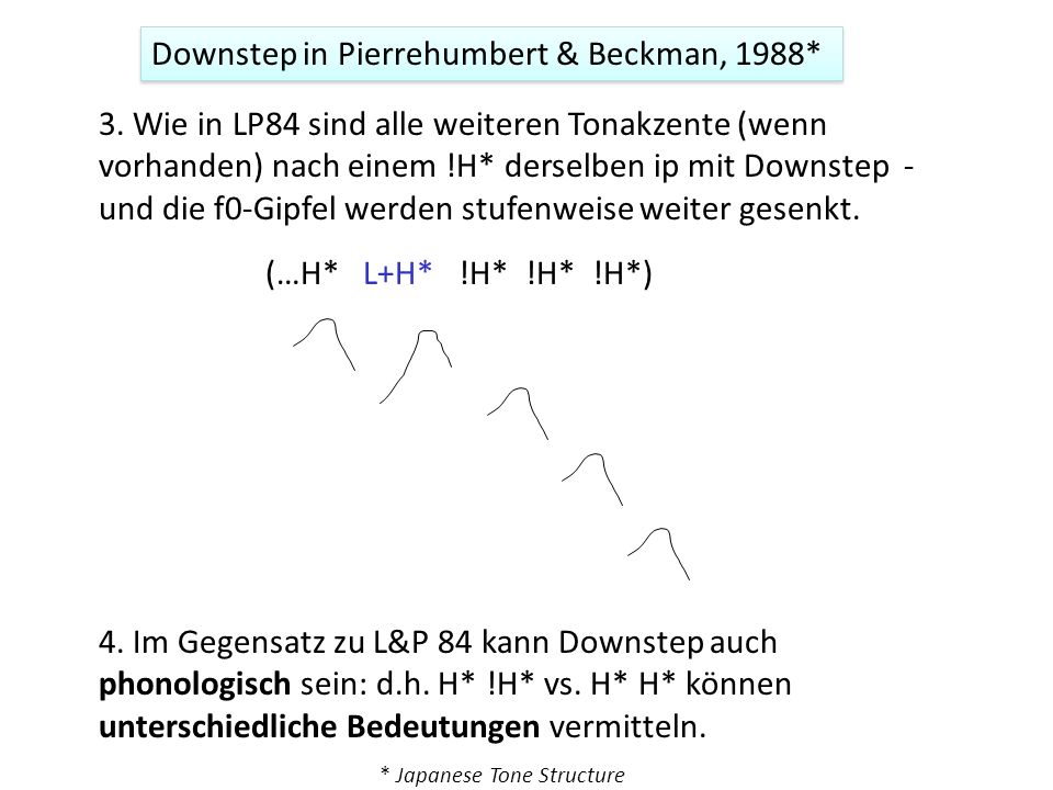 Downstep in Pierrehumbert & Beckman, 1988*