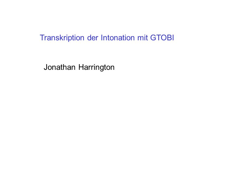 Transkription der Intonation mit GTOBI