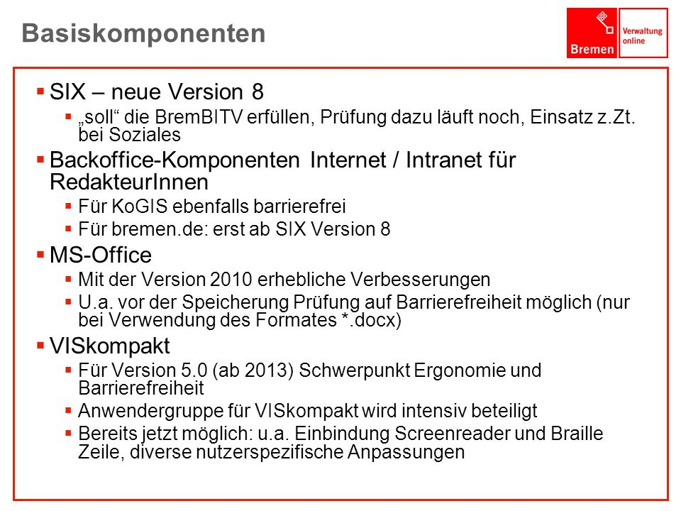 Basiskomponenten SIX – neue Version 8