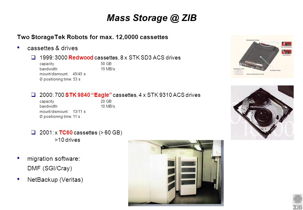 Mass ZIB Two StorageTek Robots for max. 12,0000 cassettes