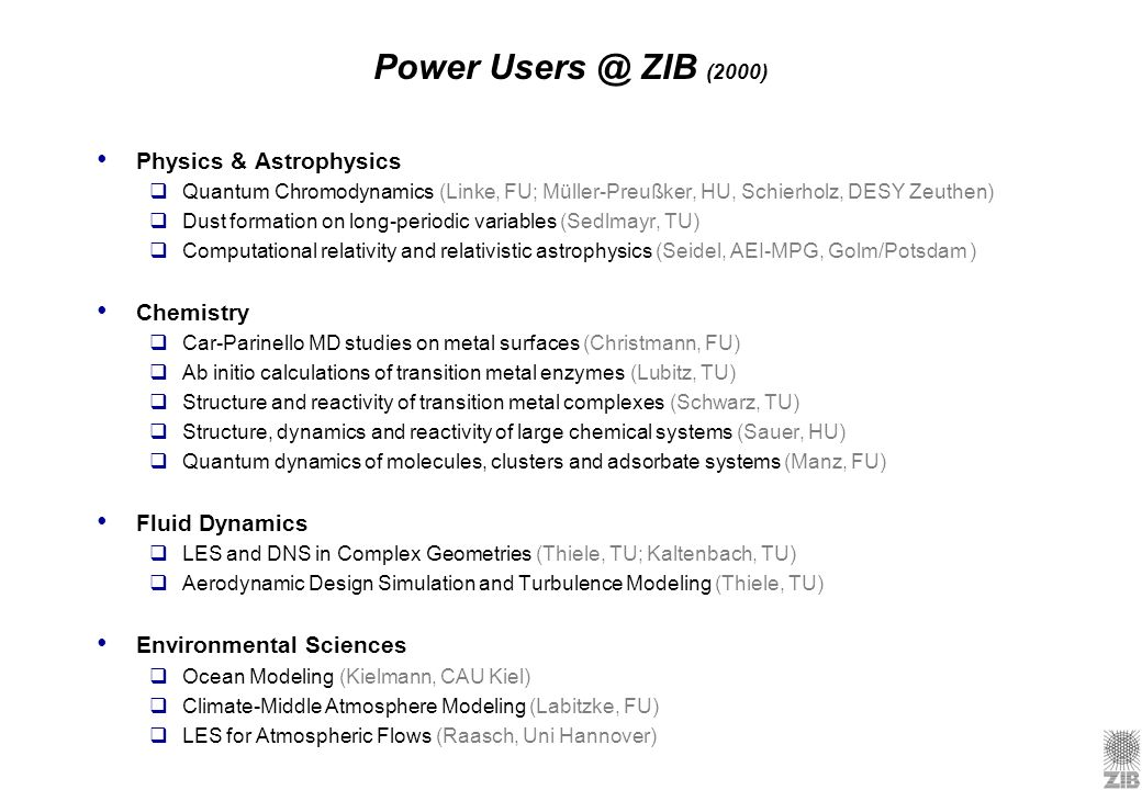 Power ZIB (2000) Physics & Astrophysics Chemistry