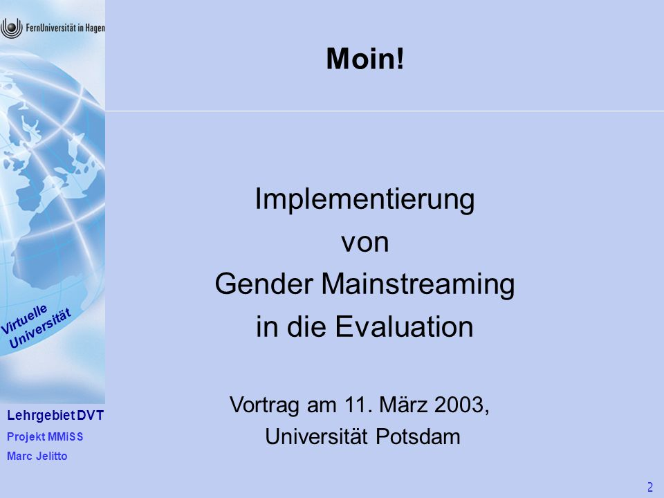 Implementierung von Gender Mainstreaming in die Evaluation