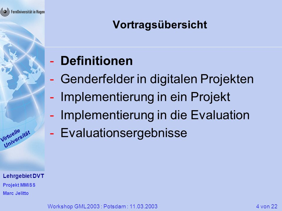 Genderfelder in digitalen Projekten Implementierung in ein Projekt