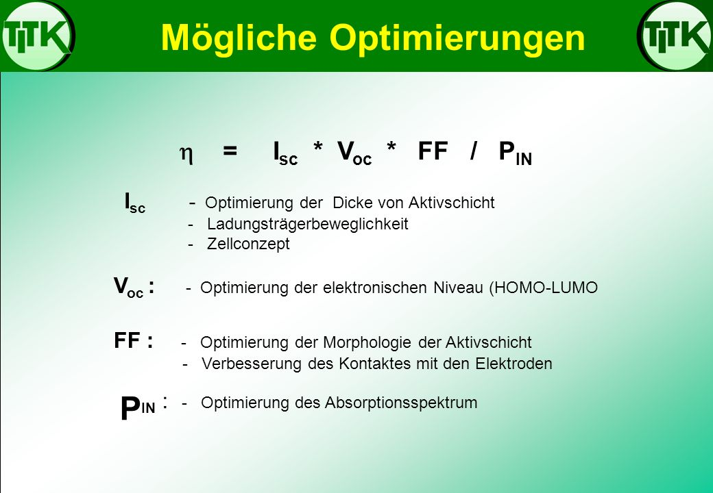 PIN : - Optimierung des Absorptionsspektrum