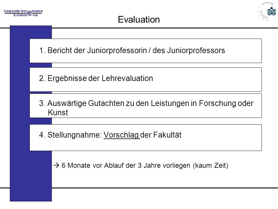 Evaluation 1. Bericht der Juniorprofessorin / des Juniorprofessors
