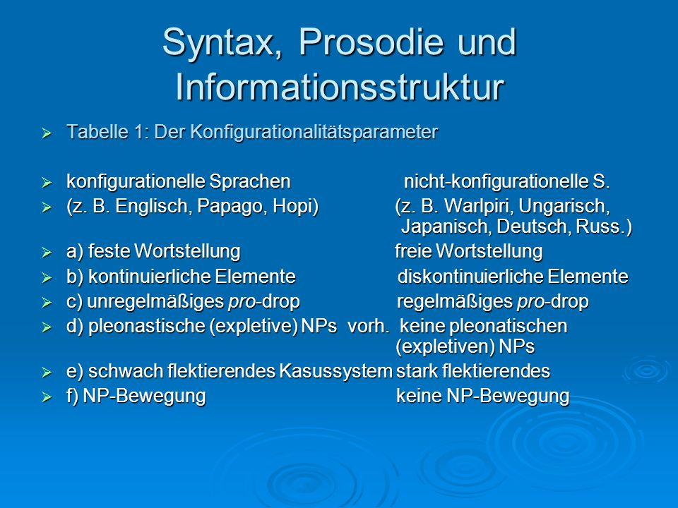 Syntax, Prosodie und Informationsstruktur - ppt video online ...