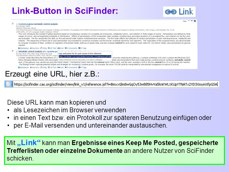 Link-Button in SciFinder: