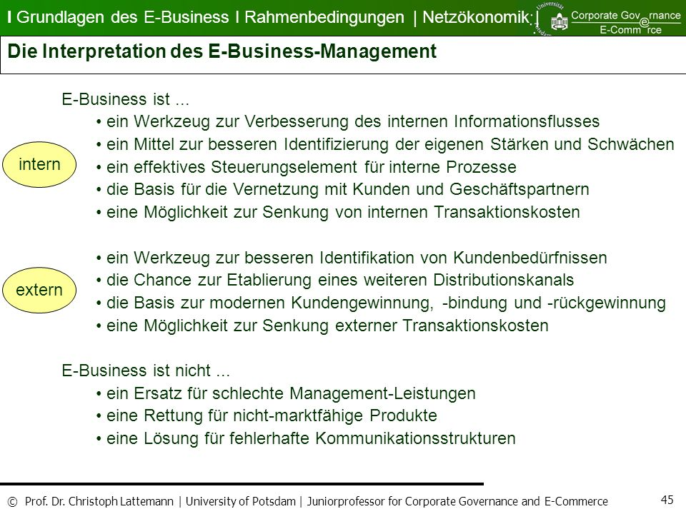 Die Interpretation des E-Business-Management