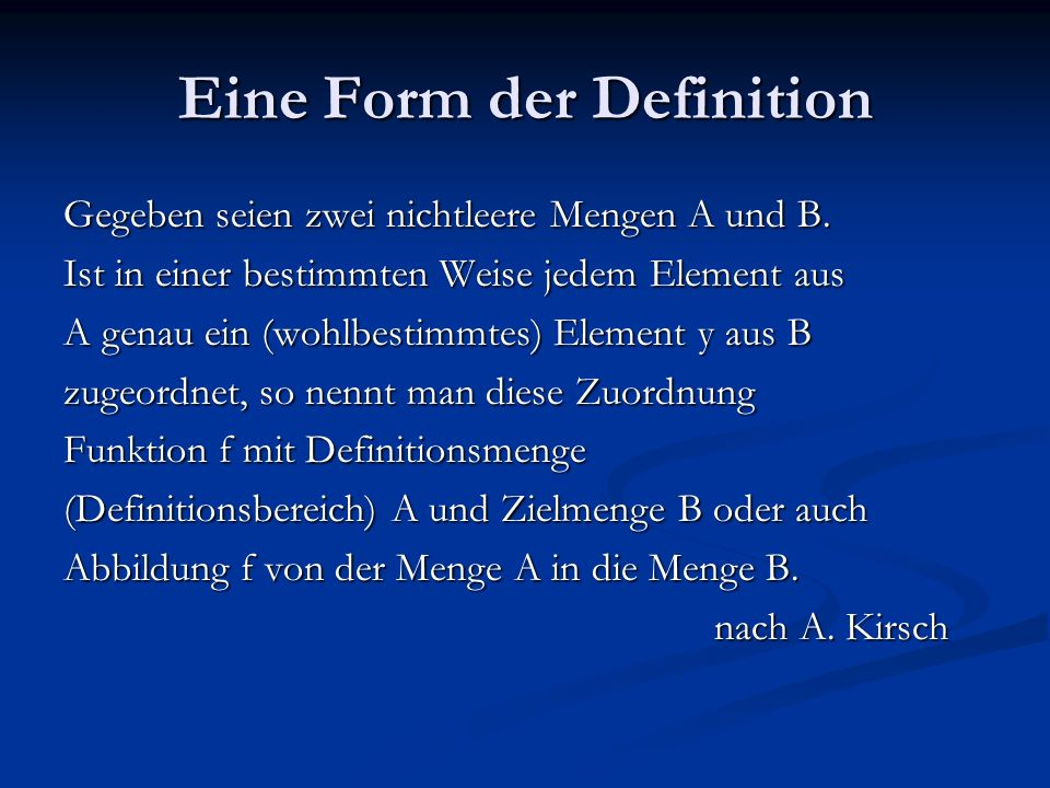 Eine Form der Definition