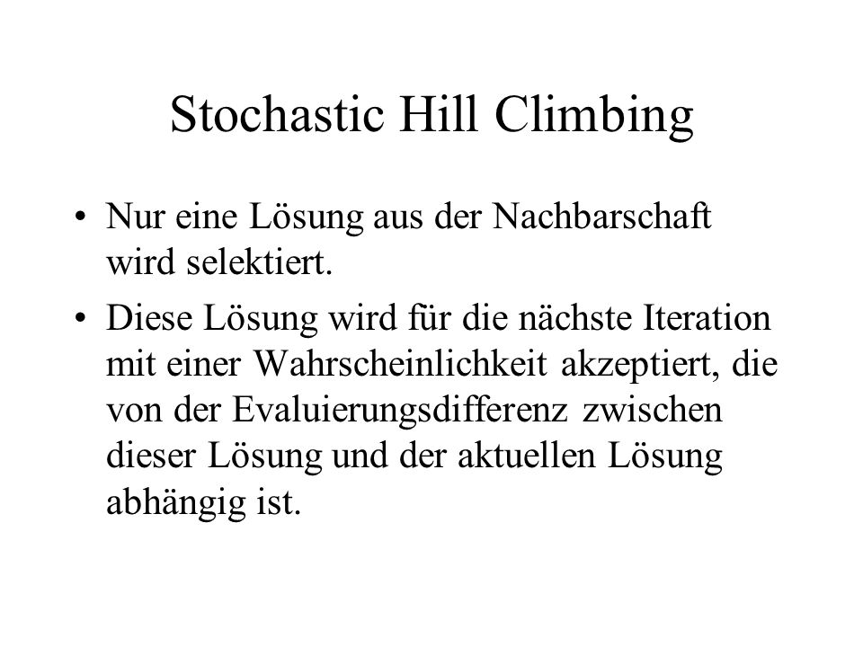 Stochastic Hill Climbing