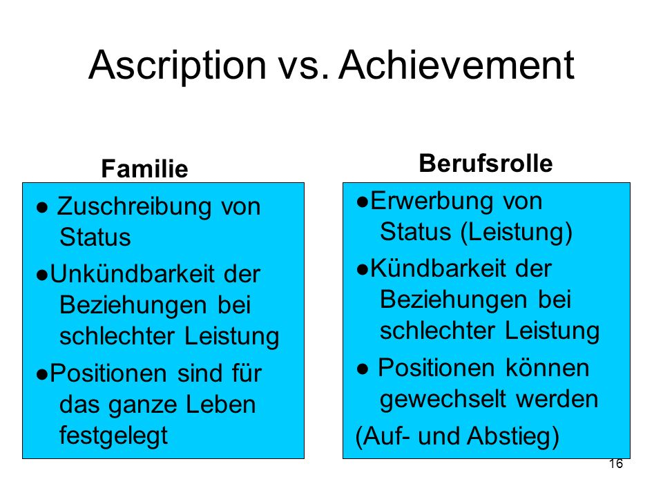 Ascription vs. Achievement