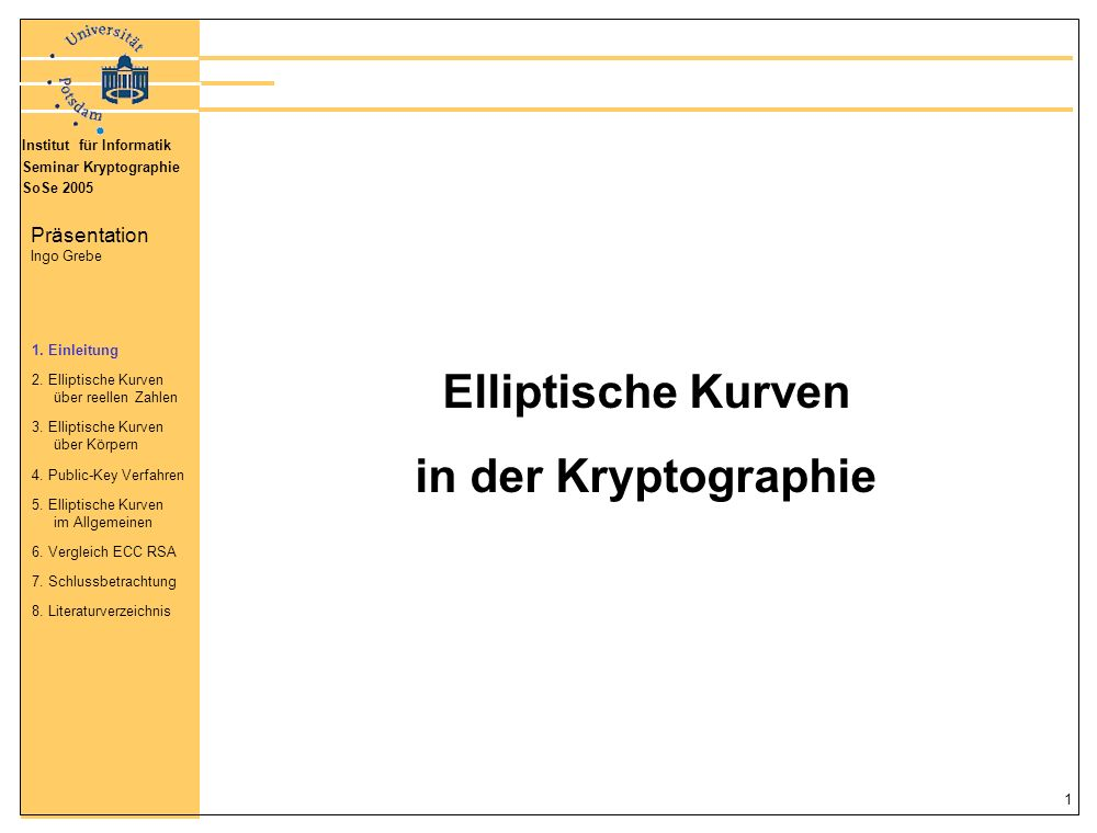 Elliptische Kurven in der Kryptographie
