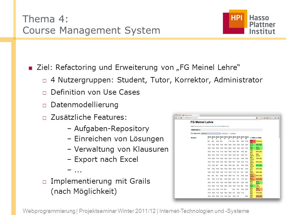 Thema 4: Course Management System