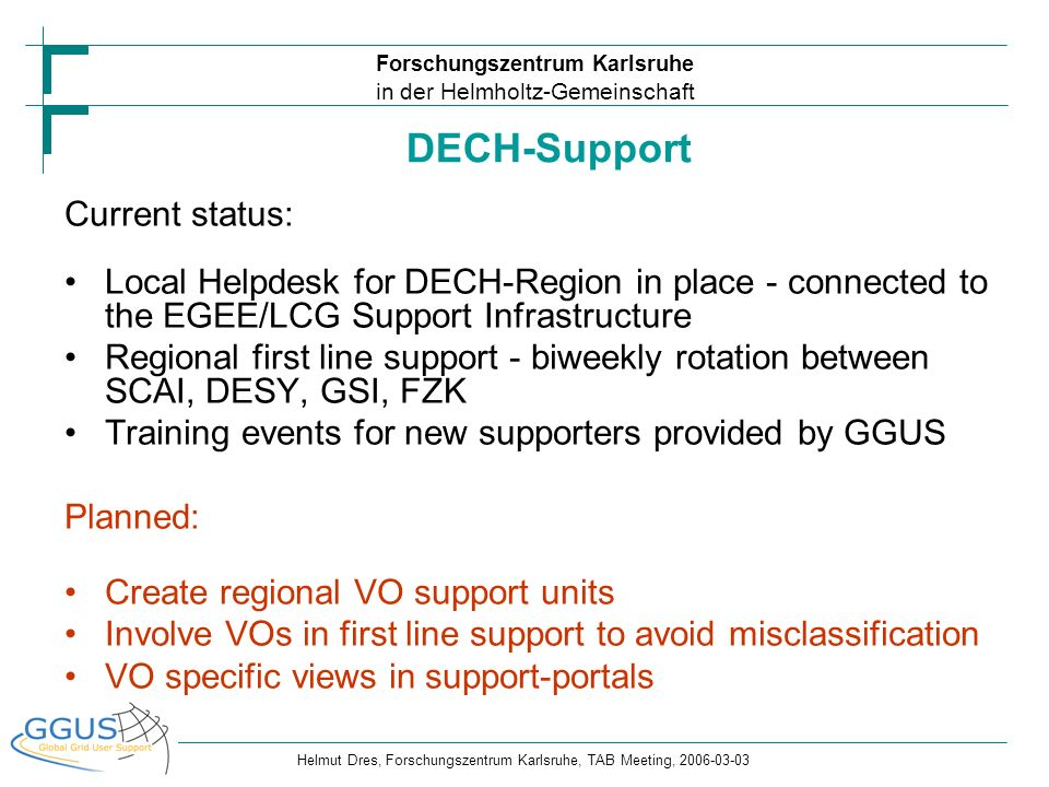 DECH-Support Current status: