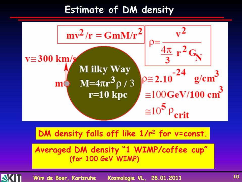 Estimate of DM density DM density falls off like 1/r2 for v=const.
