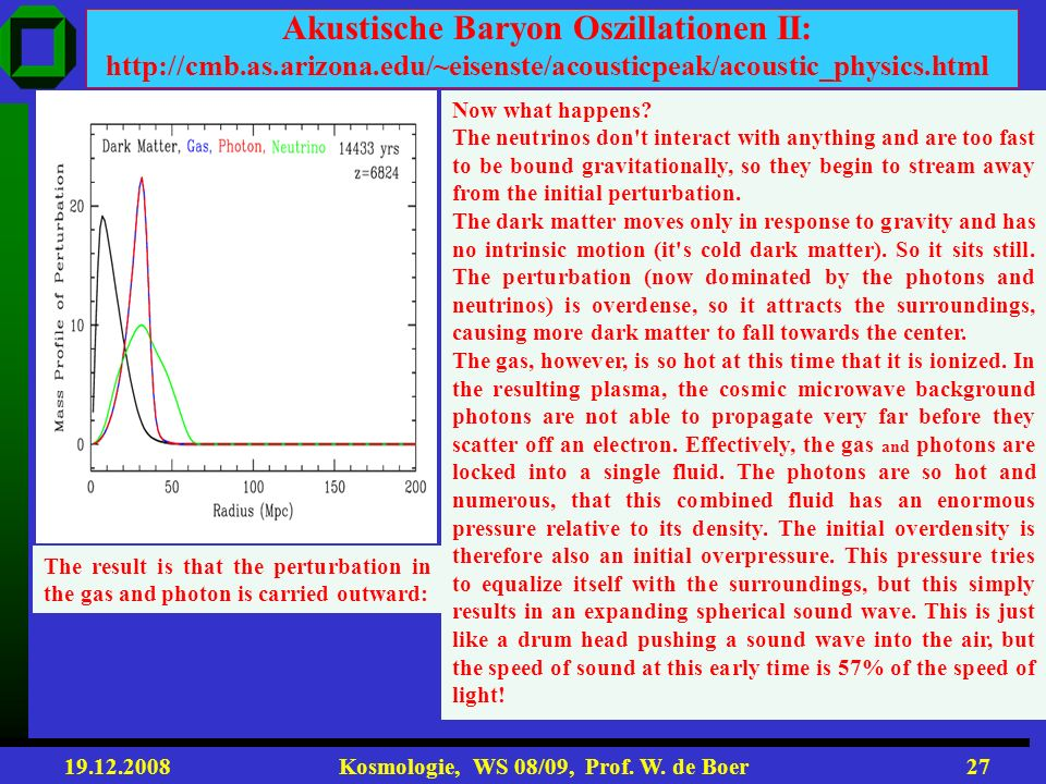 Akustische Baryon Oszillationen II: http://cmb. as. arizona