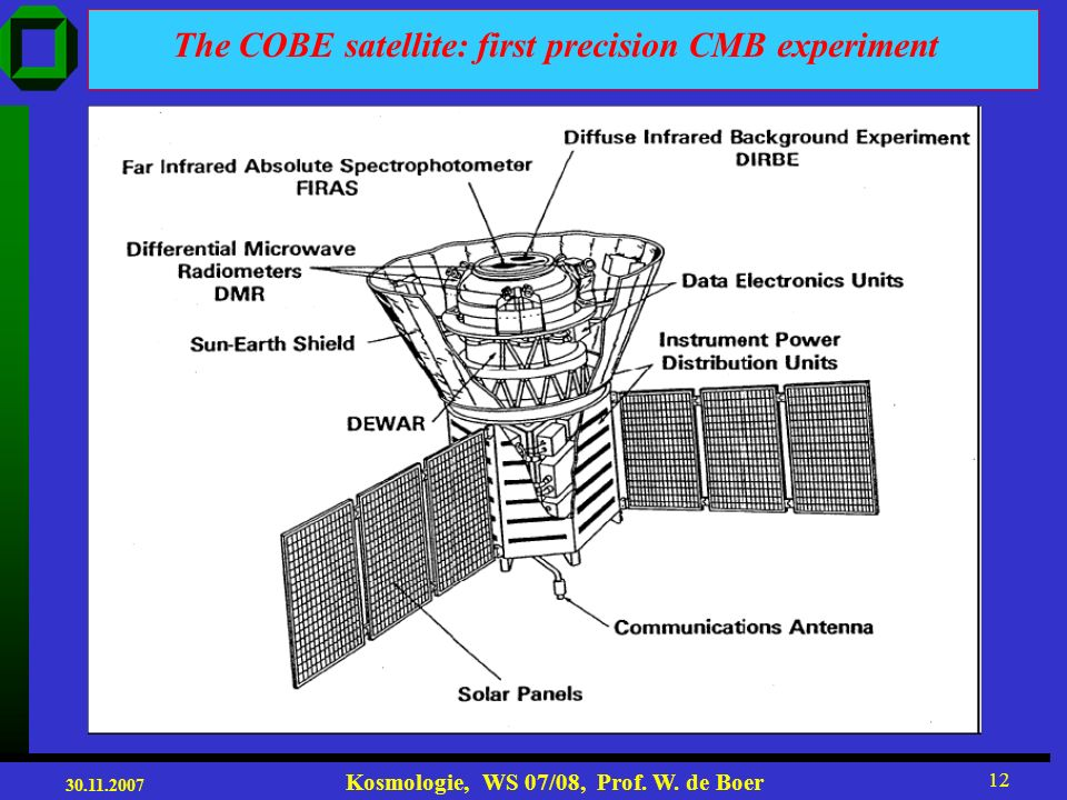 The COBE satellite: first precision CMB experiment