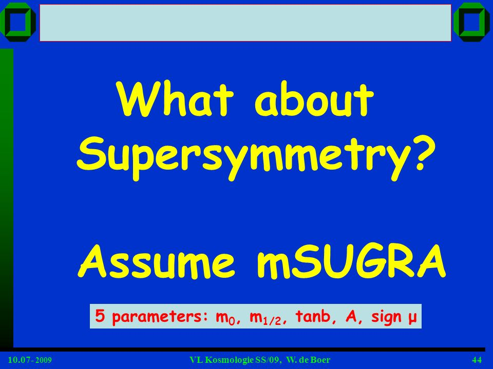 What about Supersymmetry Assume mSUGRA