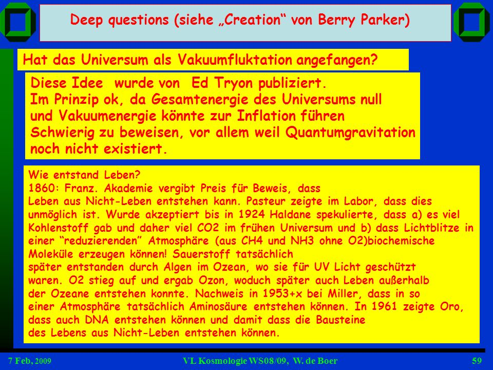 "Deep questions (siehe ""Creation von Berry Parker)"