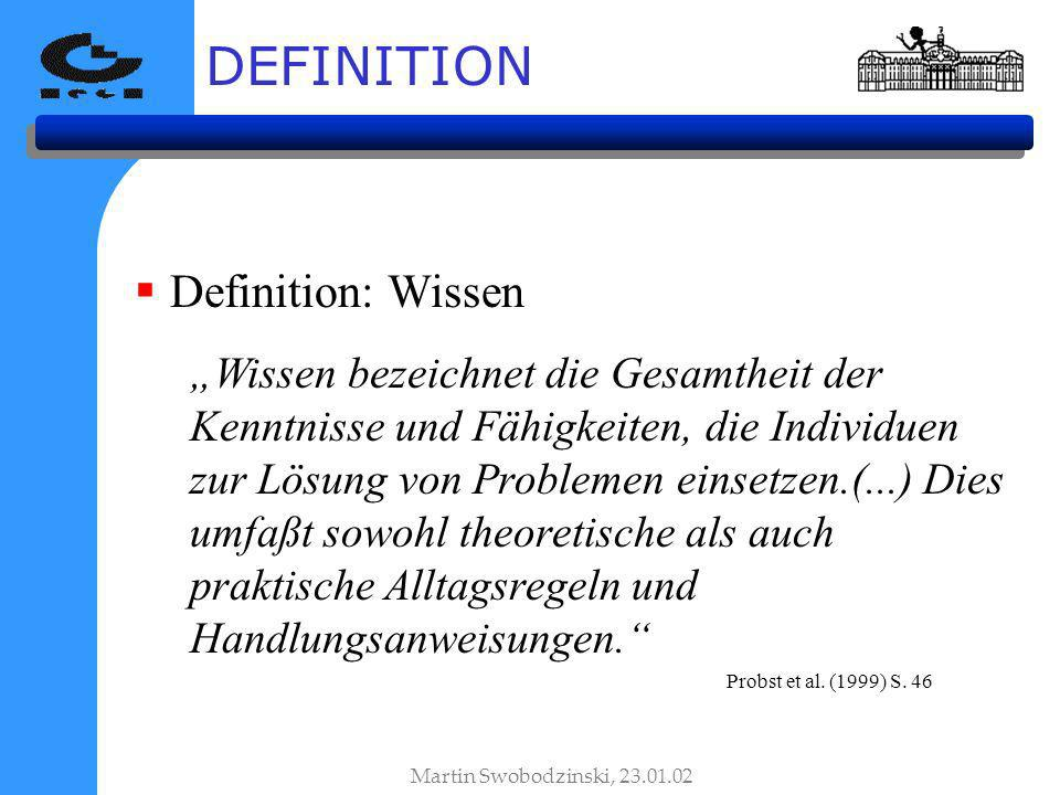 DEFINITION Definition: Wissen