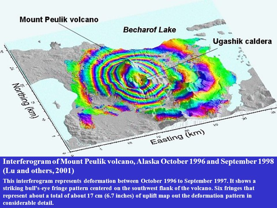 Interferogram of Mount Peulik volcano, Alaska October 1996 and September 1998 (Lu and others, 2001)