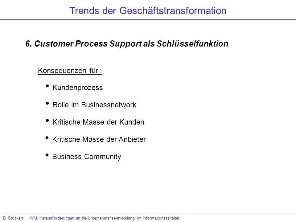 6. Customer Process Support als Schlüsselfunktion