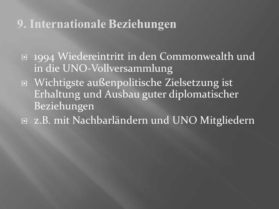 9. Internationale Beziehungen