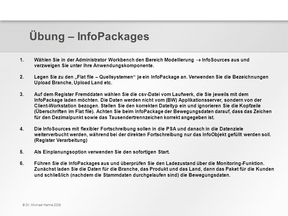 Übung – InfoPackages