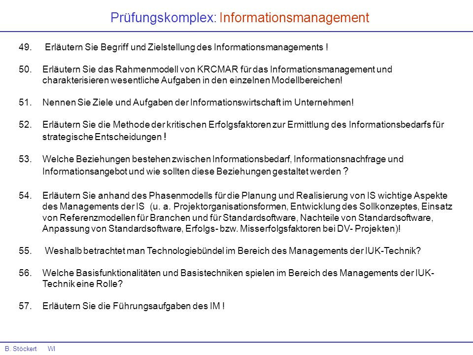 Prüfungskomplex: Informationsmanagement