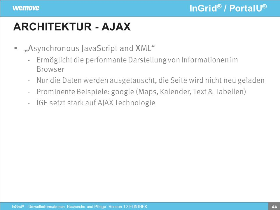 "ARCHITEKTUR - AJAX ""Asynchronous JavaScript and XML"