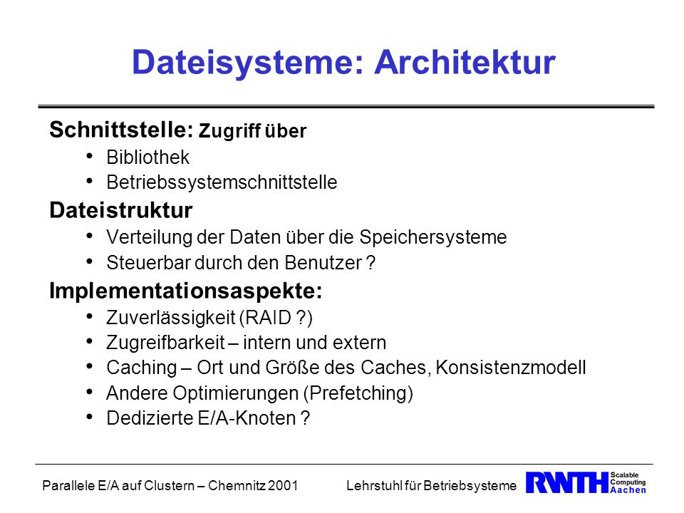 Dateisysteme: Architektur