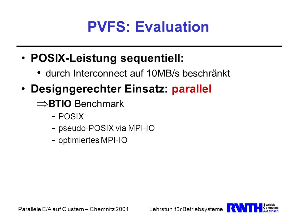 PVFS: Evaluation POSIX-Leistung sequentiell: