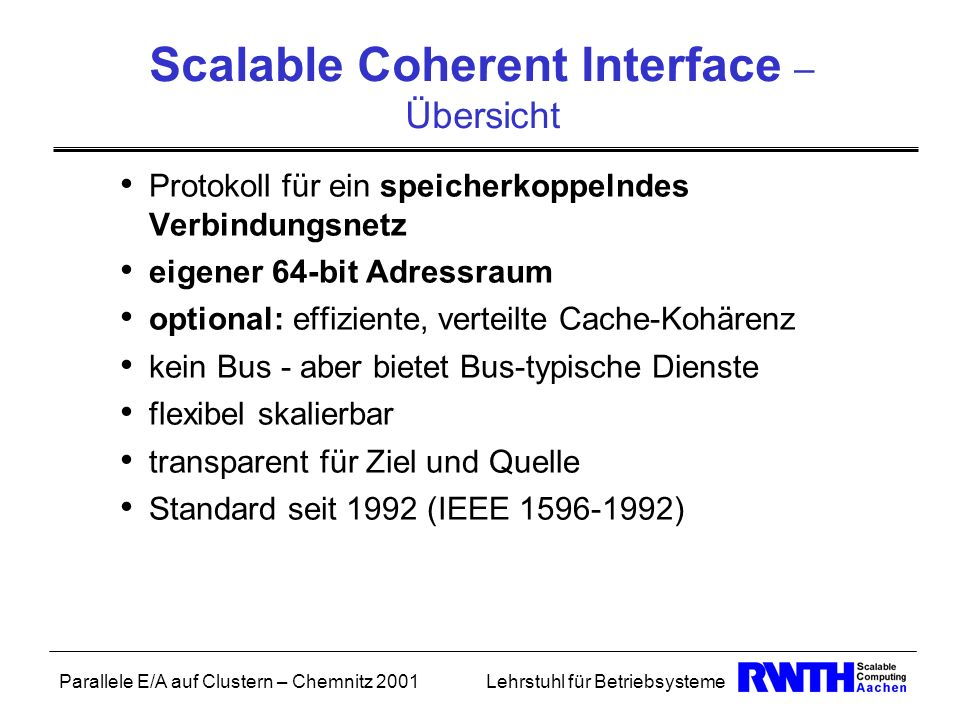Scalable Coherent Interface – Übersicht