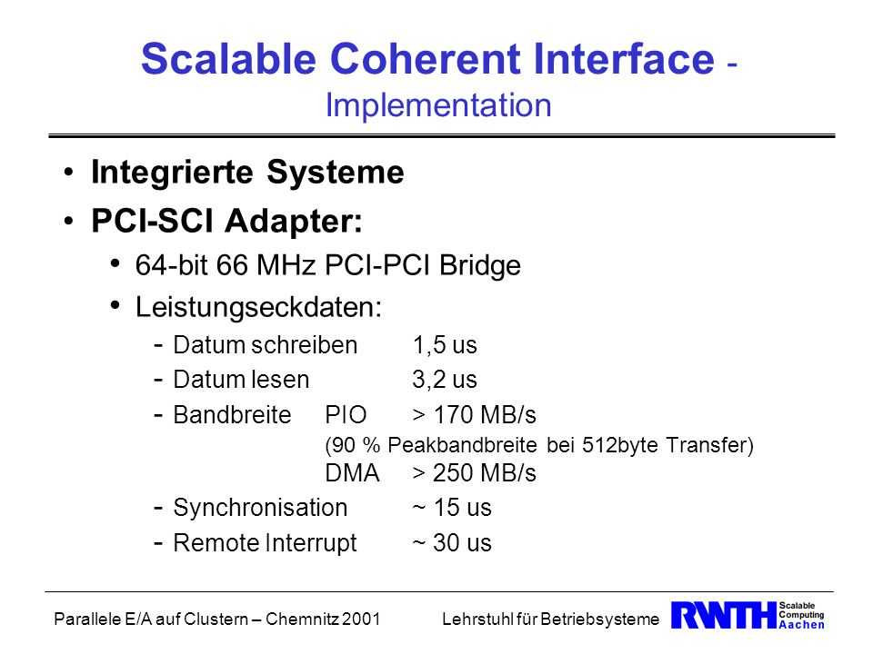 Scalable Coherent Interface - Implementation