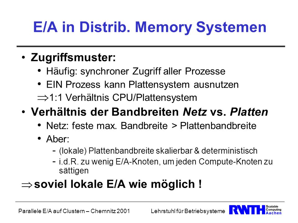 E/A in Distrib. Memory Systemen