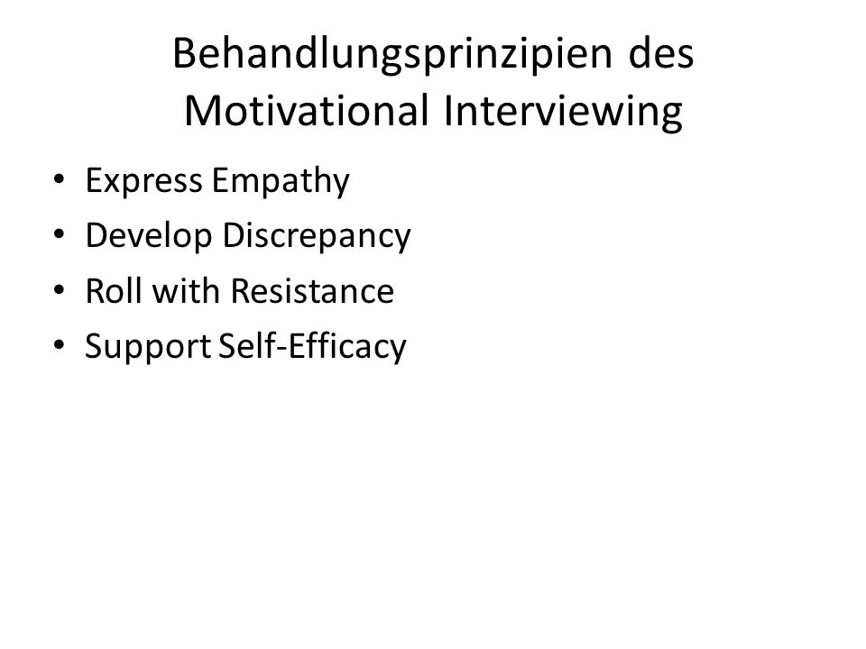 Behandlungsprinzipien des Motivational Interviewing