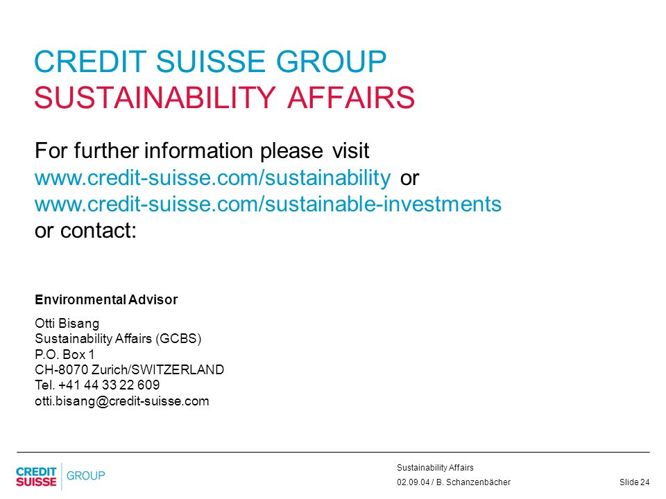 CREDIT SUISSE GROUP SUSTAINABILITY AFFAIRS