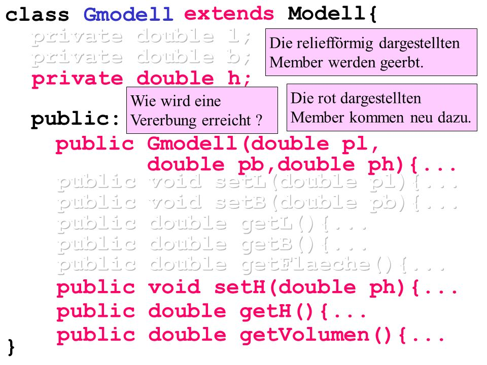 public void setL(double pl){... public void setB(double pb){...