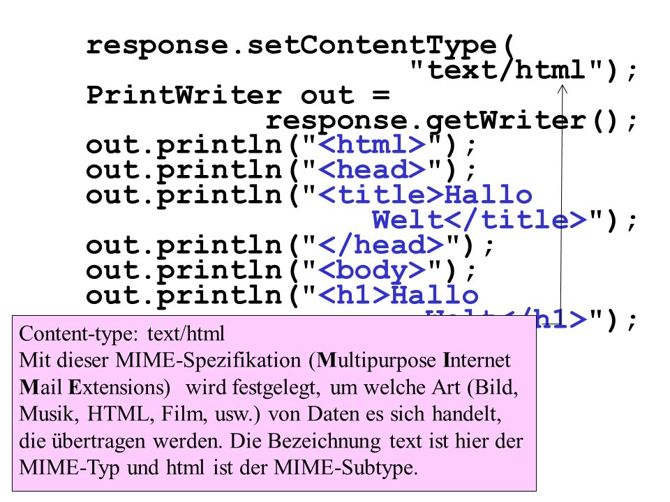 response.setContentType( text/html ); PrintWriter out =