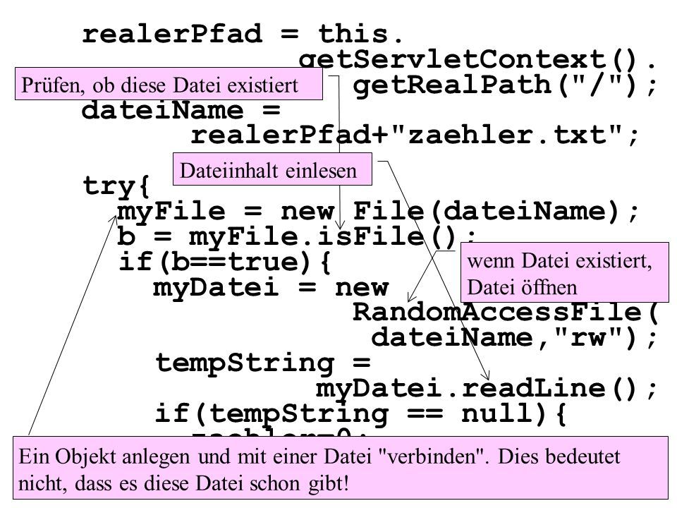 realerPfad+ zaehler.txt ; try{ myFile = new File(dateiName);